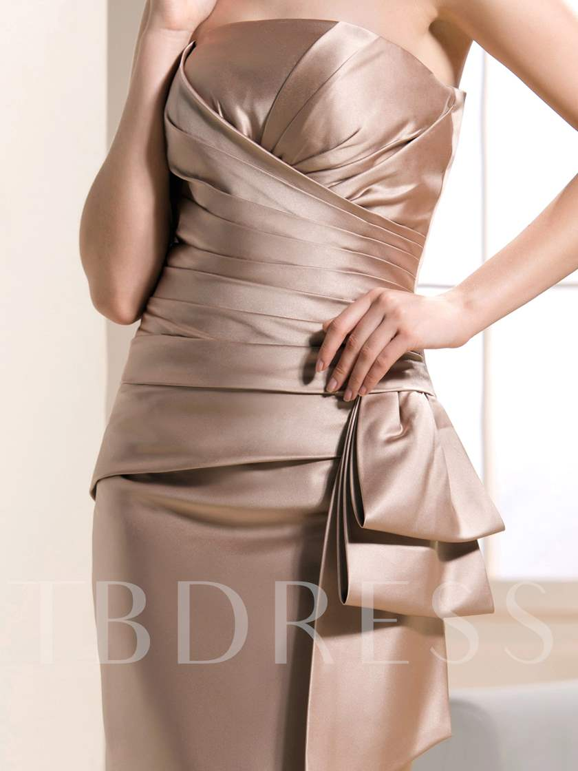 Strapless Column Knee-Length Mother of the Bride Dress