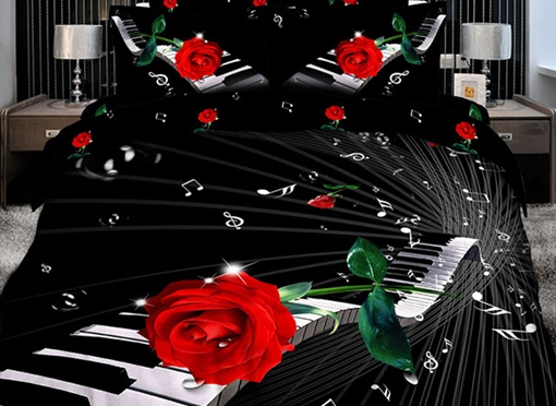 Elegant Piano with Red Rose 3D Print 4-Piece Cotton Duvet Cover Sets