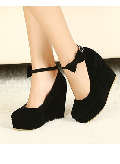 Round Toe Bowtie Wedge Heel Platform Women's Pumps