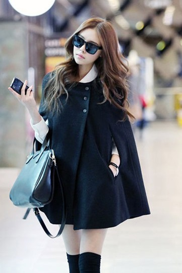 Japanese Style Black Cloak Trench Coat
