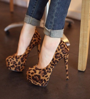 Deluxe Leopard Suede Upper Platform Stiletto Heels Women Shoes