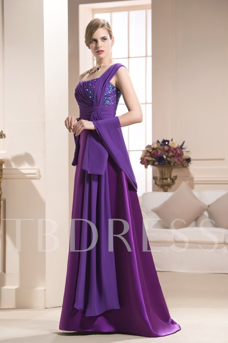 Beaded One Shoulder Mother of the Bride Dress With Shawl