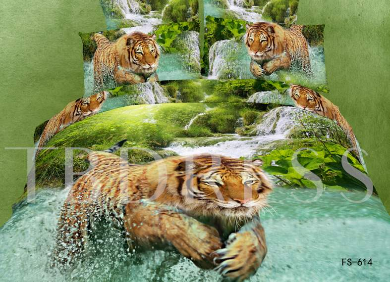 Tiger Jumping Printed Cotton 3D 4-Piece Bedding Sets/Duvet Covers