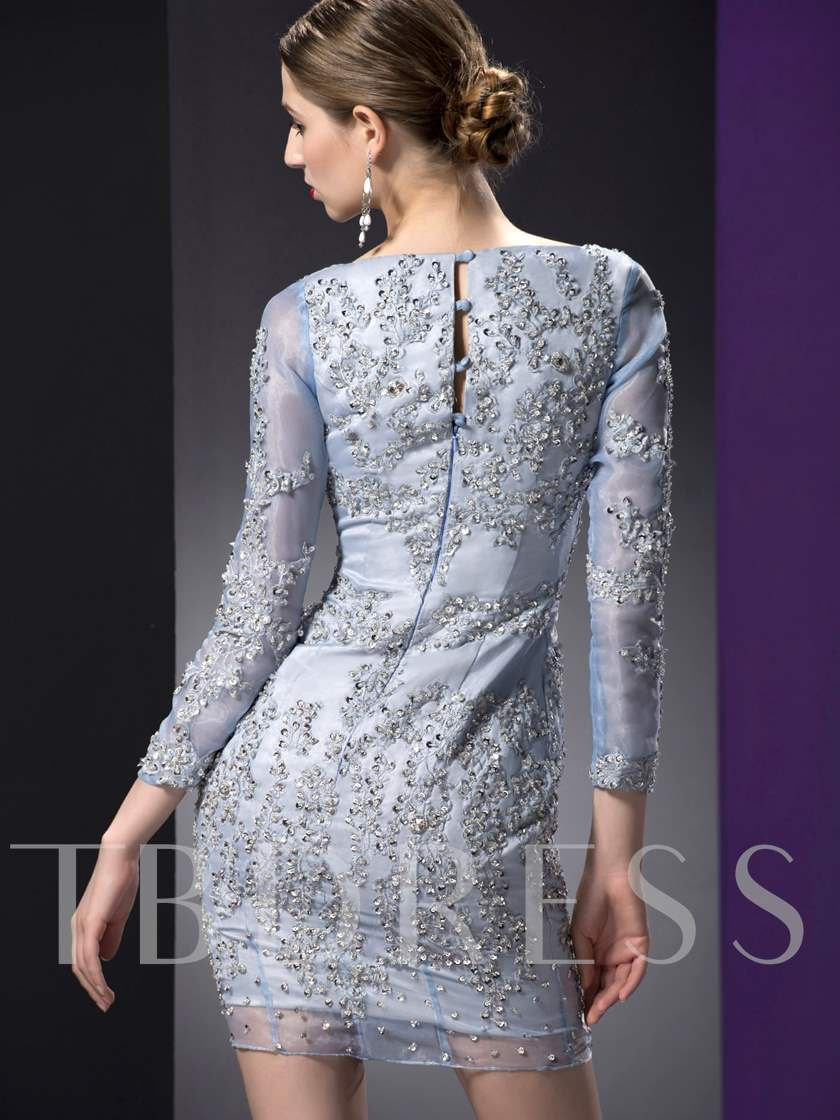 Appliques Short Sheath Long Sleeves Mother of the Bride Dress