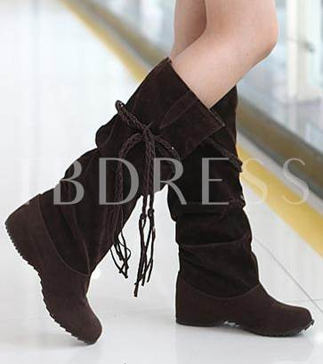 Knee-High Candie's Color Flat Wedge Heel Women's Boots