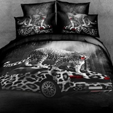 3D Leopard Car Printed Cotton 4-Piece Bedding Sets/Duvet Covers