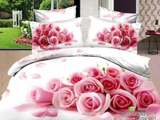 Bunch of Pink Roses Printed Cotton 4-Piece 3D White Bedding Sets/Duvet Covers