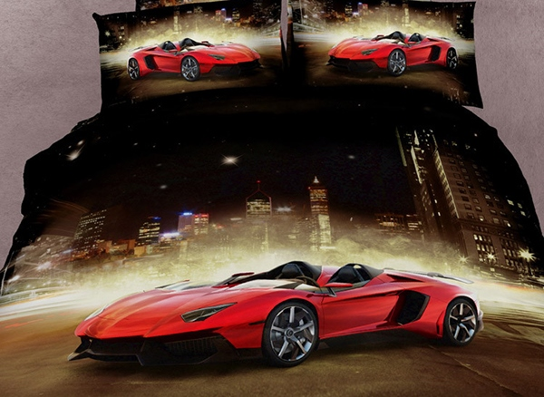 Luxury Sports Car Print 4 Piece 3D Bedding Sets/Duvet Cover Sets