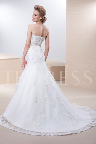 Trumpet/Mermaid Beading Bowknot Court Train Wedding Dress