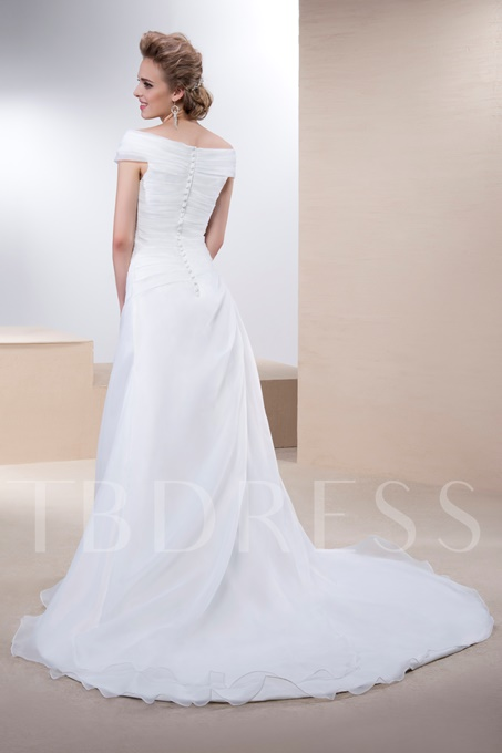 Off-the-Shoulder Button Pleats Wedding Dress