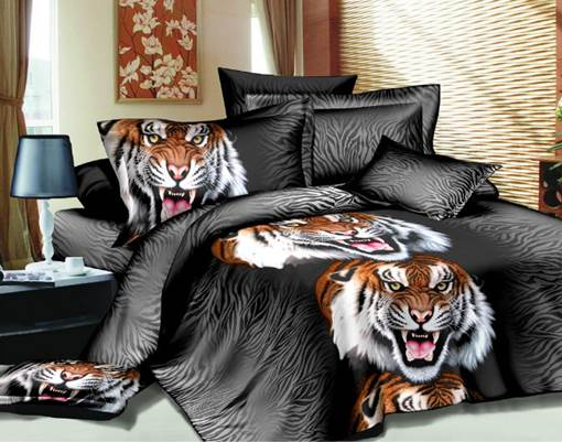 Fashion Roaring Tiger Print 3D 4 Piece Polyester Bedding Sets/Duvet Covers