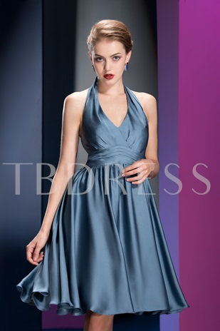 A-line Knee-length Halter Ruched Homecoming Dress