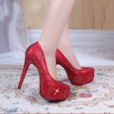 Round Toe Stiletto Heel Slip-On Rhinestone Thin Wedding Shoes