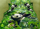Panda Simple Cotton 3D Four-Piece Bedding Set