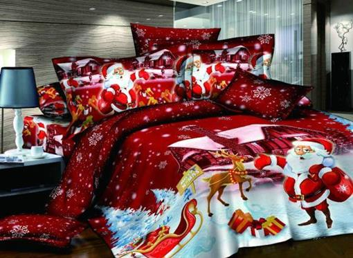 Christmas Tree Printed Cotton 4-Piece 3D Scenery Bedding Sets/Duvet Covers