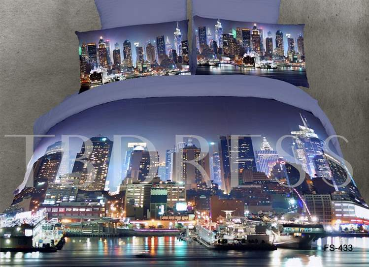 Bustling Night City Scene Printed 4- Piece Bedding Sets/Duvet Covers