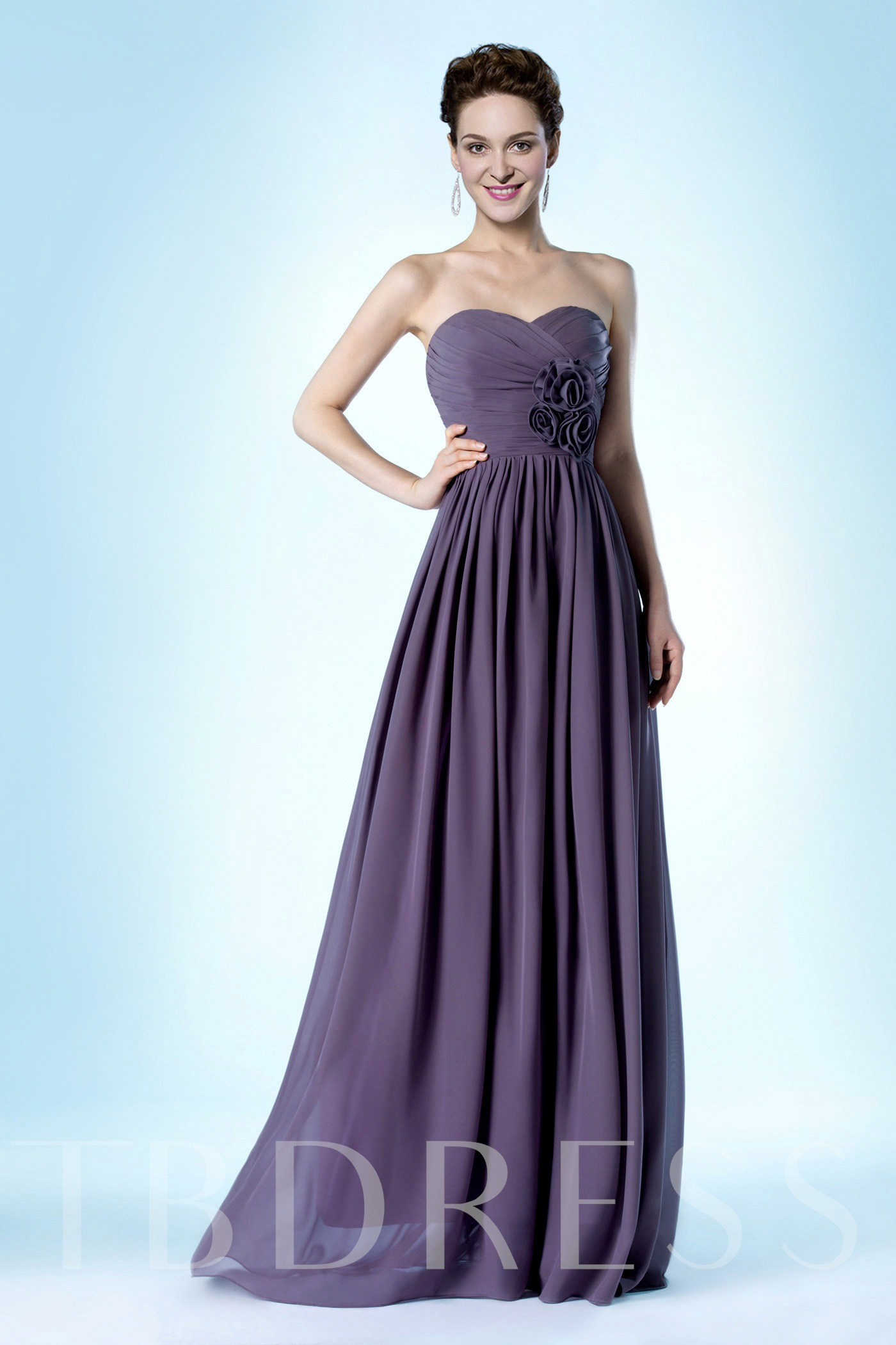 Image of A-Line Flowers Sweetheart Bridesmaid Dress