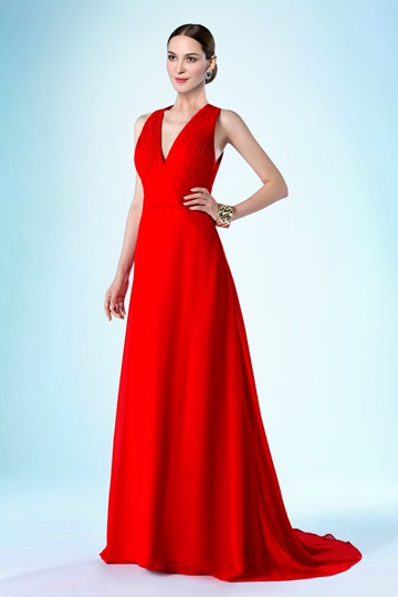 V-Neckline Zipper-Up Sweep/Brush Mother of the Bride Dress