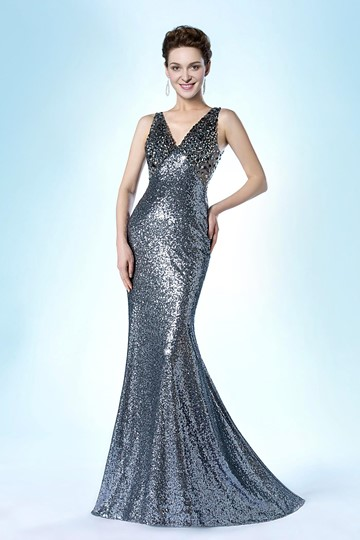 Mermaid Deep V-Neck Sequins SweepEvening Dress