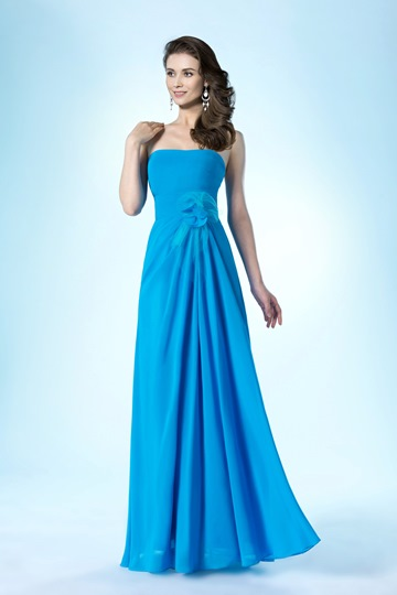 A-Line Strapless Zipper-Up Flower Prom Dress