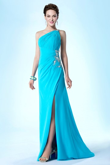 One Shoulder Sheath Beading Sweep/Brush Evening/Prom Dress