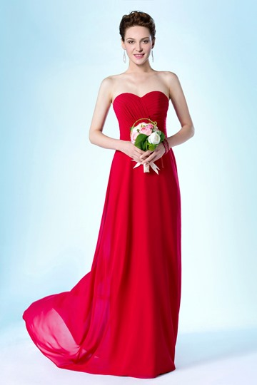 Strapless Sweetheart Neckline Sweep/Brush Train A-Line Bridesmaid Dress