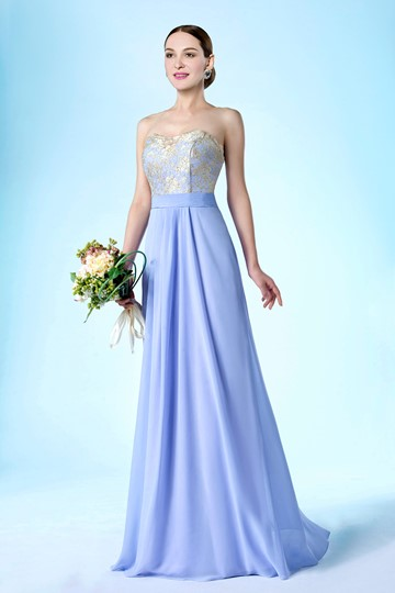 New Strapless Zipper-Up Floor Length A-Line Bridesmaid/Prom Dress