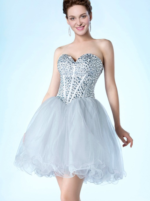 Sweetheart Neckline Strapless Beadings Short/Mini A-Line Cocktail Dress