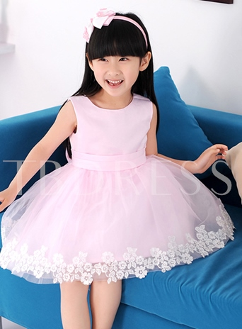 Round Neck Bowknot Appliques Flower Girl Dress
