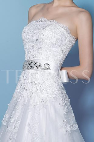 A-Line Scalloped-Edge Neckline Court Train Wedding Dress