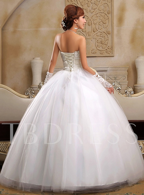 Beaded Ball Gown Appliques Bowknot Wedding Dress