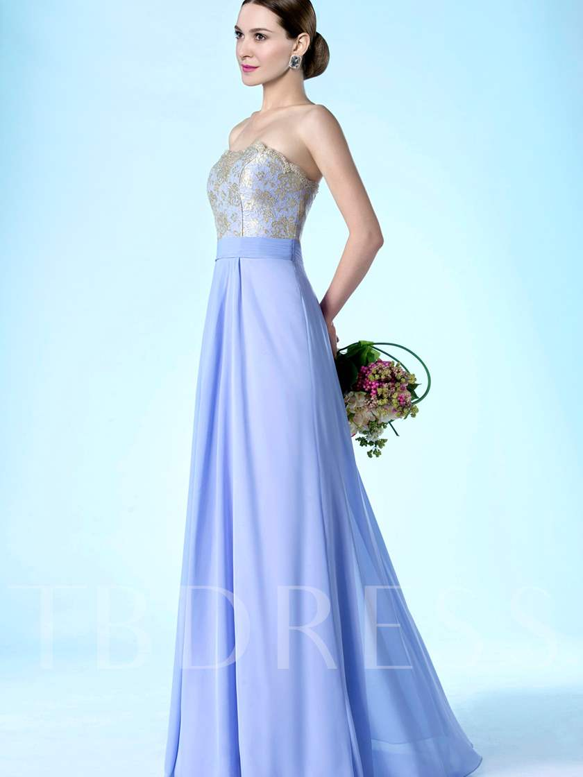 Strapless Lace Top Chiffon Long Bridesmaid Dress