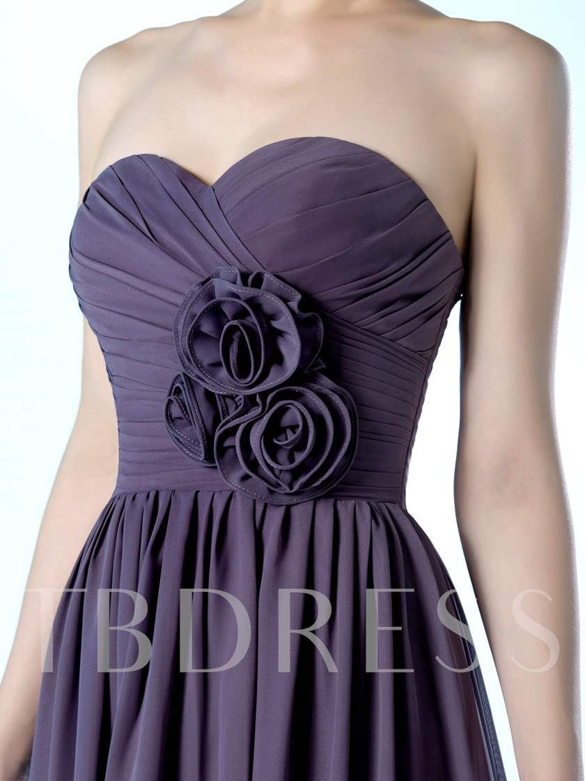A-Line Flowers Ruched Long Bridesmaid Dress