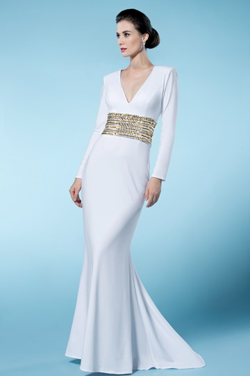 Sheath/Column V Neck Long Sleeves Sequined Mother of the Bride Dress