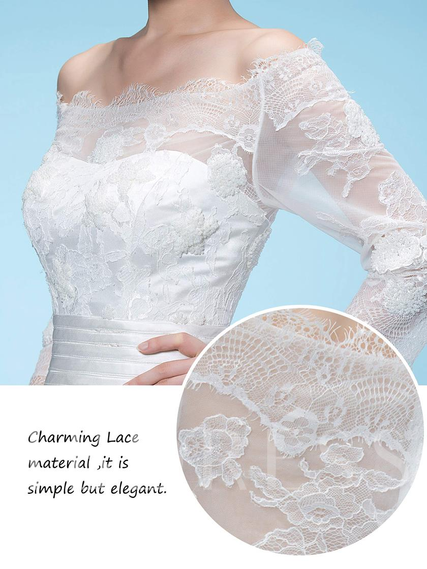 Off the Shoulder Sleeves Lace Wedding Dress