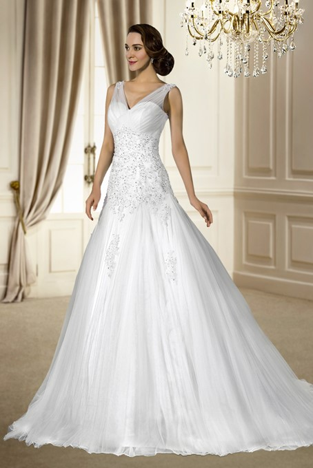V-Neck Beading Sequins Appliques Wedding Dress