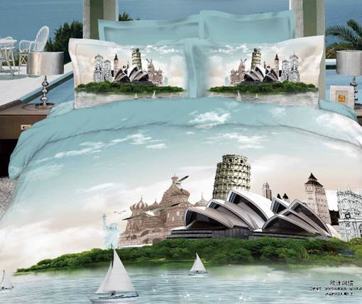 Sydney Opera House & Leaning Tower Famous Building Print 3D 4 Piece Dvet cover/Bedding Sets