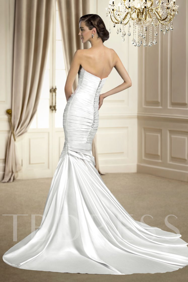 Mermaid Pleats Court Train Wedding Dress