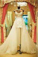 Sheath Rhinestone Beach Wedding Dress with Train