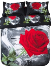 Red Rose in Heart Shape Printed Cotton 3D 4-Piece Black Bedding Sets