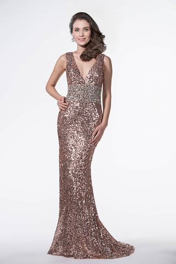 V-Neckline Mermaid Beading Sequins Floor-Length Evening Dress