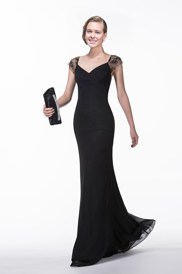 Of The V-Neck Lace Sweep/Brush Train Sleeveless Zipper-up Evening Dress