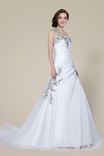 Halter Beading Lace-Up Court Train Wedding Dress