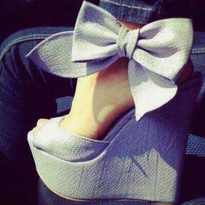 Open Toe Wedge Heel Platform Plain Bowtie Women's Sandals
