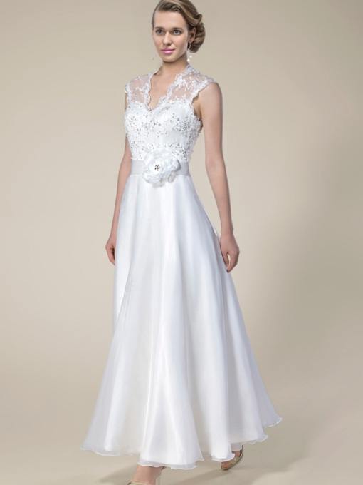 V-Neck Lace Zipper-Up Ankle-Length Beach Wedding Dress