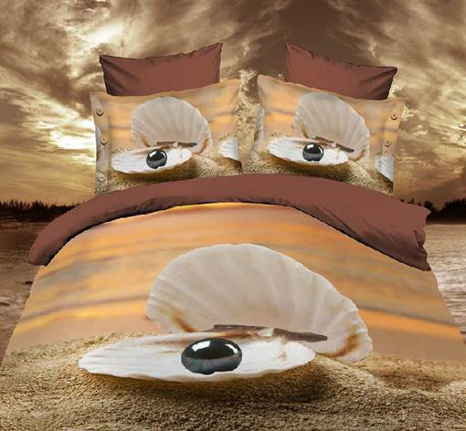 Shell with Black Pearl Print 3D 4-Piece Polyester Bedding Sets/Duvet Covers