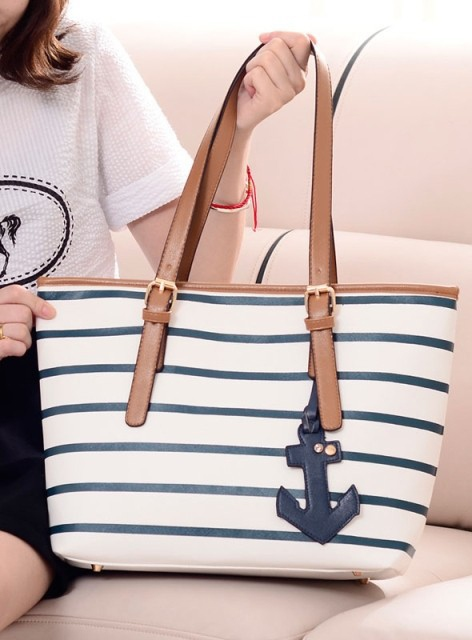 Striped Navy Style Women's Tote Bag