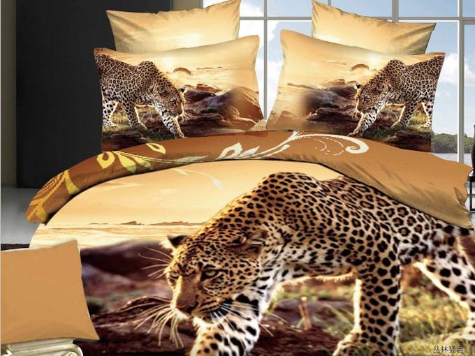 Walking Leopard Printed Cotton 4-Piece 3D Bedding Sets/Duvet Covers