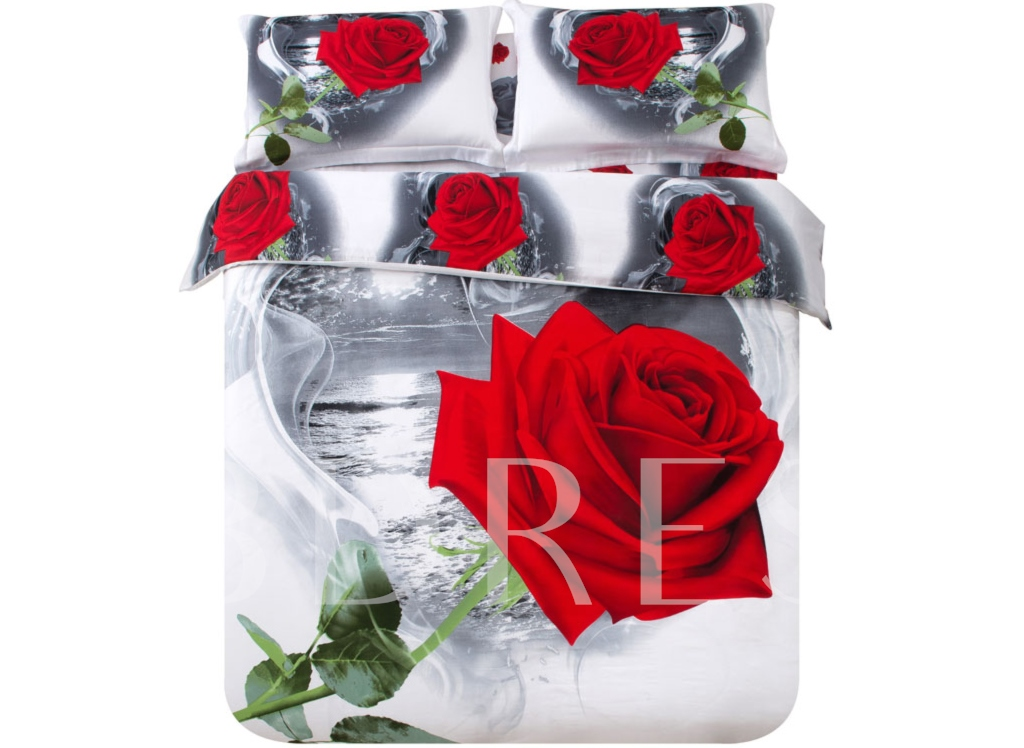 3D Red Rose and Heart-shaped Cloud Printed 4-Piece White Bedding Sets/Duvet Covers