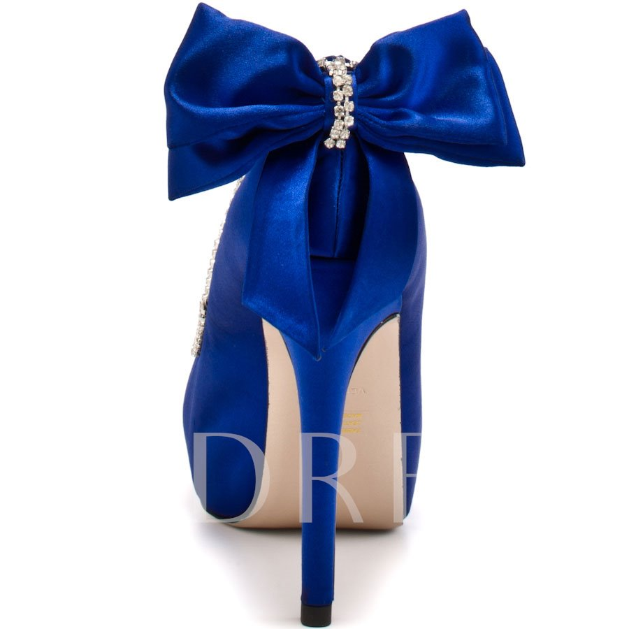 Peep Toe Stiletto Heel Slip-On Bow Wedding Shoe